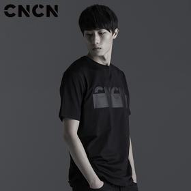 CNCN男装 修身纯棉LOGO印花T恤 男暗黑时尚个性t恤 CNBT29026