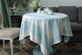 外贸 高级加厚棉麻混纺桌布 轰趴 家宴 凹造型 蓝白大格