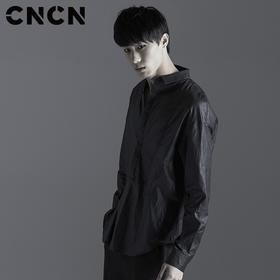 CNCN男装 夏季潮牌休闲服 男青年长袖衬衫 黑色薄款衬衣CNBX20616