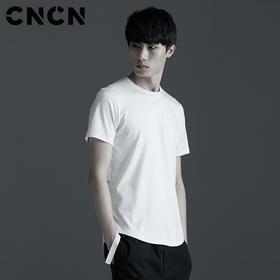CNCN男装 2017夏季新款修身男士圆领t恤 织带暗黑潮流T CNBT20203