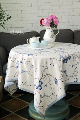 外贸 高级加厚棉麻刺绣桌布 家宴轰趴 食尚好礼 蓝梅
