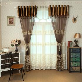 高档客厅卧室绣花窗纱-春暖花开 米色/紫色