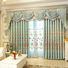 中式-湖泊蓝色雪尼尔绣花-牡丹刺绣窗帘