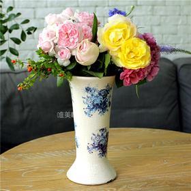外贸 陶瓷乡村复古风 冰裂纹 长形花器 摆件