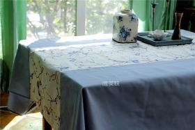 外贸 高级棉麻混纺 镶拼刺绣桌布 轰趴家宴 食尚好礼 蓝梅