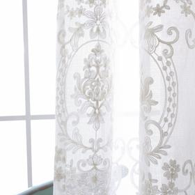 镜中花欧式麻纱绣花-窗纱