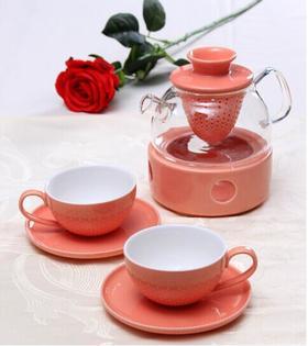 【CODA】 蔻达欧式镂空花茶壶套装 橙色