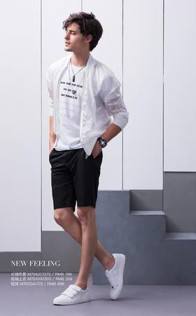 长袖外套:M704JC1372¥799; 短袖上衣:M704VA1303¥299; 短裤:M703GA1172¥499