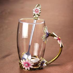 【茶具】英伦下午茶花茶杯-彩绘掐花水晶杯-初秋甜菊