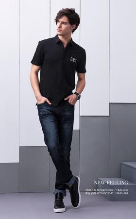 短袖上衣:M704VA1362¥339; 牛仔长裤:M704NC1347¥499