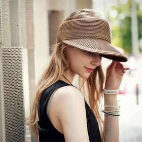 【帽子】欧美大檐草帽空顶帽黑色鸭舌帽遮阳帽太阳帽户外出游度假帽女潮