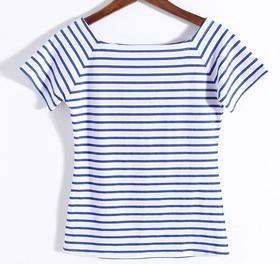 2017春夏季欧美女装 长短袖 黑白条纹 女士修身纯棉一 字领露肩 T恤