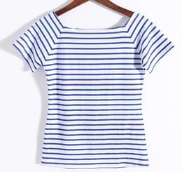 春夏季欧美女装 长短袖 黑白条纹 女士修身纯棉一 字领露肩 T恤