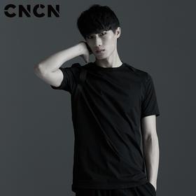 CNCN男装 潮牌黑色短袖T恤 夏季男士圆领休闲T恤 CNBT29046