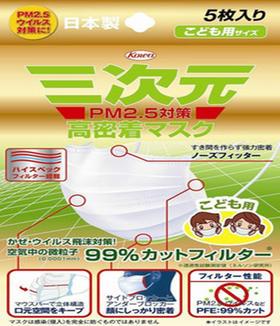 三次元4D防PM2.5成人儿童防雾霾防尘口罩 5枚入