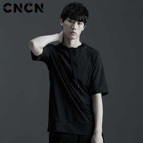 CNCN男装 夏季男士黑色休闲服 个性潮款T恤 青年潮牌短袖体恤CNBT29041