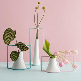 哲品 芬享+现代简约陶瓷干花小花瓶创意客厅台面摆件花器家居饰品