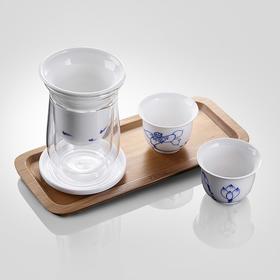 哲品陶瓷茶具套装带木制茶盘四合一景德镇鱼悦青花家用泡茶器