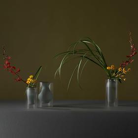 哲品家居 镜花圆系列花器简约现代插花摆件玻璃花瓶创意客厅装饰