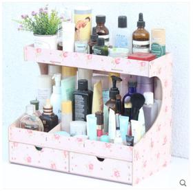 大号木制桌面收纳盒 化妆品整理盒抽屉式收纳架置物架