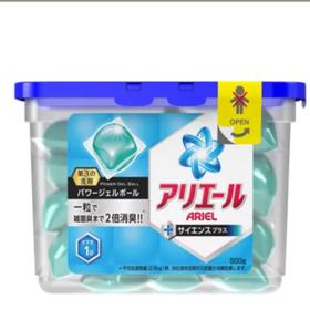 日本P&G宝洁全效杀菌去污凝珠消臭柔软洗衣球光洁花香蓝色18个