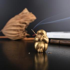 【预售:1月31日发货】一只名叫「伴」的黄铜萌猴|既为香器香插亦为镇纸兼做手把件的可爱小猴