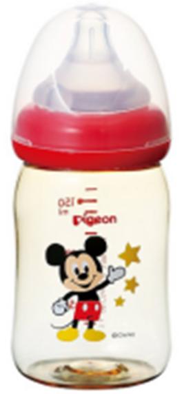 贝亲母乳实感宽口ppsu塑料奶瓶米老鼠 160ml