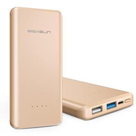 贝尔顺(BEASUN)QC3.0双向快充移动电源手机充电宝10000毫安 土豪金-双USB输出