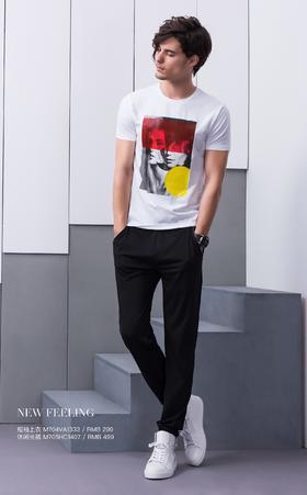 短袖上衣(白):M704VA1333¥299  ;休闲长裤:M705HC1407:¥499