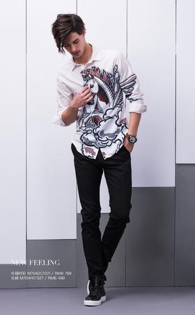 长袖衬衫:M704DC1371¥799; 长裤:M704HC1327¥499