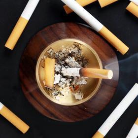 火山口烟灰缸 檀木黄铜个性时尚木质烟灰缸 家居创意礼品