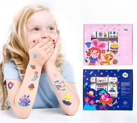 美乐蓝盒+粉盒纹身贴纸和指甲贴超值2盒装