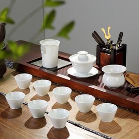 陶瓷功夫6人茶具套装茶壶茶杯整套白瓷茶杯盖碗茶具礼盒装