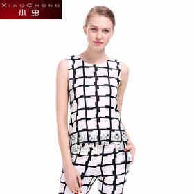 【骆驼子品牌-小虫】小虫新款英伦简约格子印花短款套头上衣女无袖修身收腰X5BSY0141