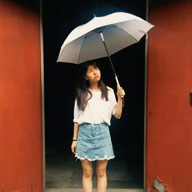 初见文创毛笔伞渐变色晴雨伞全自动直杆长柄遇水显字