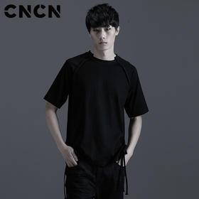 CNCN男装 夏季新品圆领修身T恤 修身下摆织带黑白t恤 CNBT20204