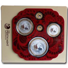 2011澳洲兔年2金3银彩色纪念币套装【收藏品  金银币  钱币  纪念品  礼品  熊猫币  生肖  狗年礼物  艺术】