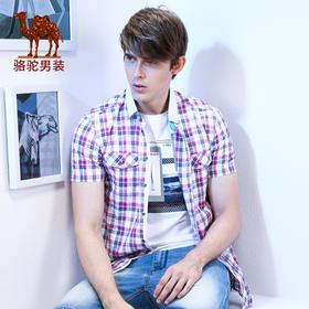 骆驼牌男装 夏季棉短袖衬杉男 青年商务休闲格子尖领衬衣 SST4190014