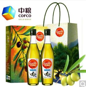 中粮萨维亚食用初榨橄榄油礼盒500ml*2