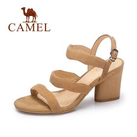 【有赞精选】Camel/骆驼女凉鞋 夏季时尚简约凉鞋 韩版甜美荷叶边高跟粗跟凉鞋A72014602