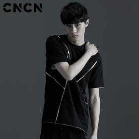 CNCN男装 摩登拼接短袖T恤 男黑色夏季全棉体恤CNBT29055