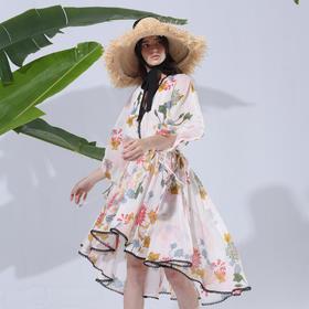 SYUSYUHAN设计师女装 摇曳生花V领蕾丝镶边超大摆燕尾系带连衣裙