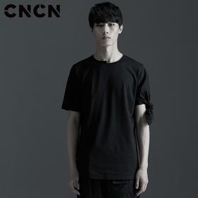 CNCN男装 青年个性不规则T恤 潮款黑白双色体恤CNBT29036