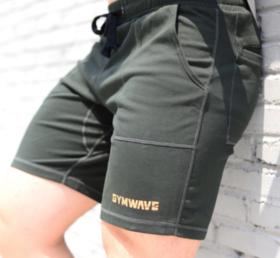 GYMWAVE夏季运动裤健美短裤 轻薄弹力带拉链