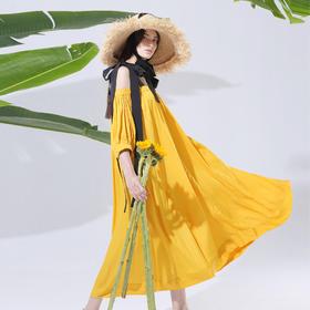 SYUSYUHAN原创设计 浪漫丝光束口蝴蝶结绑带度假超大摆艺术连衣裙