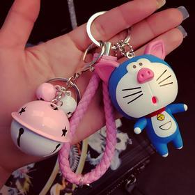 创意卡通十二生肖可爱猫公仔钥匙扣铃铛皮绳汽车钥匙链挂件批发