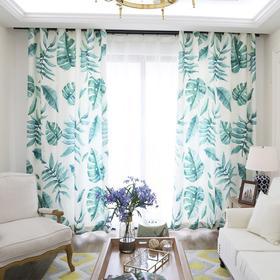 新款 2017流行款绿色植物数码印花遮光窗帘