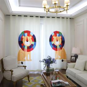 数码印花-宜家窗帘儿童房卡通动物 狮子