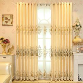 爆款 米色大气客厅贴绒绳绣窗帘