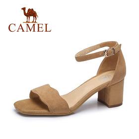【有赞精选】Camel/骆驼女凉鞋 夏季时尚简约凉鞋女 韩版舒适露趾方跟凉鞋A72014601